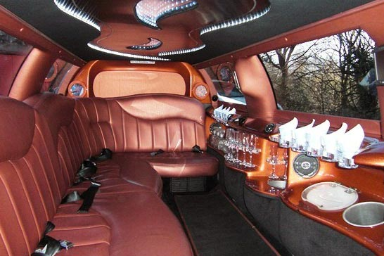Custom interior of luxury limousine
