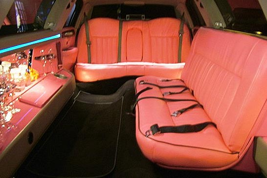 Pink limousine interior seating