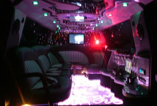 Interior of luxury ford limousine with lighting