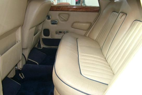 Interior shot of rear of rolls royce