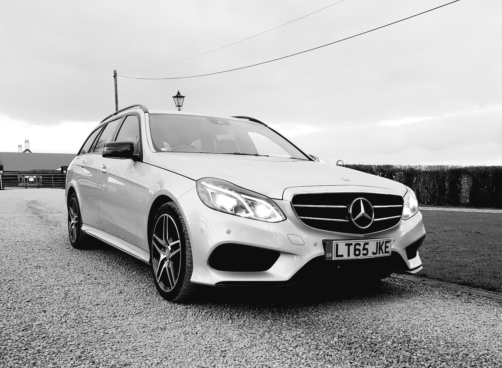 Black and white photo of Mercedes